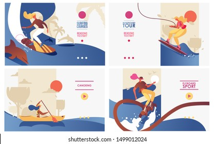 Vector concept banners set with women doing extreme water sports on boards and canoe. Wakeboarding, suffing, flyboarding training landing pages good for young activities and healthy lifestyle