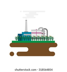Vector concept of biofuels refinery plant for processing natural resources like biodiesel. Flat style illustration
