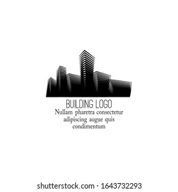 Vector concept of the building logo. Urban environment with a variety of buildings and structures. Architectural solution.  Isolated on the background and easy to use for logo, brand, symbol.