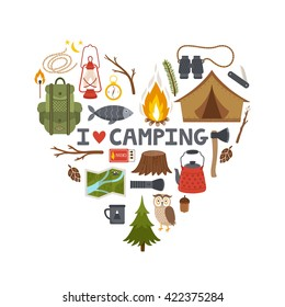 """Vector concept camping background. Heart made from camping equipment and text """"I love camping"""""""