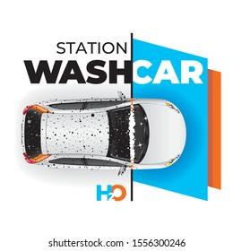 Vektorkonzept für den Autowaschangebot. Illustration zum Autowaschen.