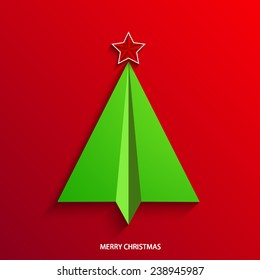 vector concept christmas tree and origami airplane. New year background