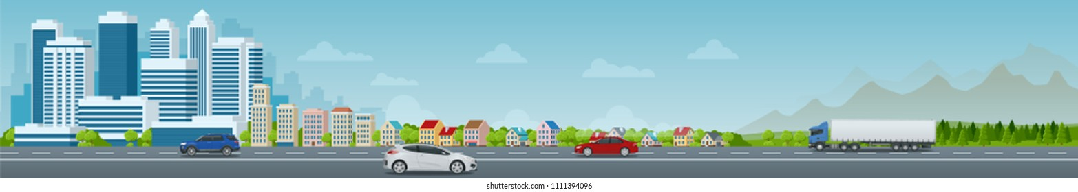 Vector concept city and suburban life. City street, large modern buildings, cityscape, cars. Urban landscape.