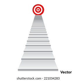 Vector concept conceptual 3d stair climbing to leader, chief, promotion on top red target isolated on white background, for career, business, success, achievement, winner, goal, step, rise or victory