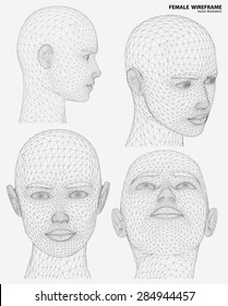 Vector concept or conceptual 3D wire frame human female head isolated on white background
