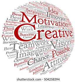 Vector concept or conceptual abstract creative business word cloud on white background metaphor to teamwork, innovation, possible, creativity, leadership, management, successful, corporate, strategy