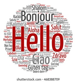 Vector concept conceptual abstract round hello or greeting international word cloud in different languages or multilingual metaphor to world, foreign, worldwide, travel, translate, vacation or tourism