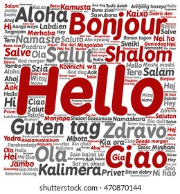 Vector concept conceptual abstract square hello or greeting international word cloud in different languages or multilingual metaphor to world, foreign, worldwide, travel, translate, vacation tourism