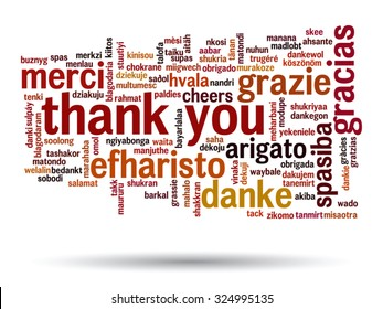 Vector concept or conceptual abstract thank you word cloud in different languages or multilingual for education or thanksgiving day, metaphor to appreciation, multicultural, friendship, tourism travel