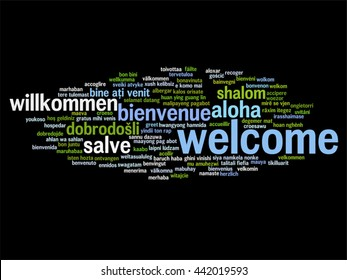 Vector concept or conceptual abstract welcome or greeting international word cloud in different languages or multilingual, metaphor to world, foreign, worldwide, travel, translate, vacation or tourism