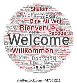 Vector concept conceptual abstract welcome or greeting international round word cloud in different languages or multilingual, metaphor to world, foreign, worldwide, travel, translate, vacation tourism