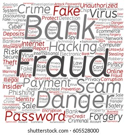 Vector concept or conceptual bank fraud payment scam danger square word cloud isolated on background  metaphor to password hacking, virus, fake authentication crime, illegal transaction identity theft