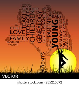 Vector concept or conceptual black text word cloud or tagcloud as tree and grass, a man jumping, on sunset with sun, metaphor to child, family, education, life, home, love, school learn or achievemen