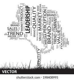 Vector concept or conceptual black tree and grass word cloud on white background as metaphor for business, trend, media, focus, market, value, product, advertising or customer or corporate wordcloud