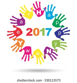 Vector Concept Or Conceptual Circle Of Colorful Hand Print Word Cloud Text Made By Children For