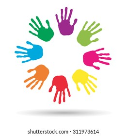 Vector concept or conceptual circle spiral of colorful hand prints made by children isolated on white background for paint, handprint, symbol, people, identity, together, friendship, play, fun designs