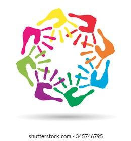 Vector concept conceptual circle or spiral set made of colorful painted human hands isolated on white background for paint, handprint, symbol, people, identity, together, friendship, play, fun designs