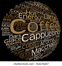 Vector concept conceptual creative hot coffee, cappuccino or espresso abstract word cloud isolated on background metaphor to morning, restaurant, italian, beverage, cafeteria, break, energy or taste