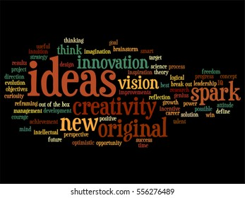 Vector concept conceptual creative new ideas or brainstorming abstract word cloud isolated on background  metaphor to spark, creativity, original, innovation, vision, think, achievement, smart genius