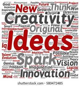 Vector concept or conceptual creative new ideas or brainstorming square word cloud isolated on background metaphor to spark, creativity, original, innovation, vision, think, achievement, smart genius