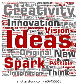 Vector concept or conceptual creative new ideas or brainstorming square word cloud isolated on background