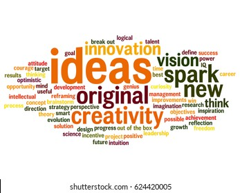 Vector concept conceptual creative new ideas or brainstorming abstract word cloud isolated on background