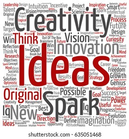Vector concept or conceptual creative new idea brainstorming square word cloud isolated on background. Collage of spark creativity, original innovation vision, think, achievement or smart genius text