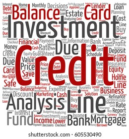 Vector concept or conceptual credit card line investment balance square word cloud isolated on background metaphor to money analysis, business fund balance, estate, mortgage, safe refinance solution