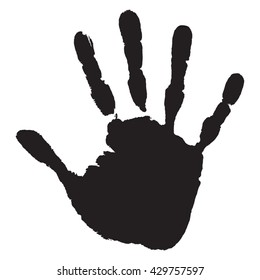 Vector Concept Or Conceptual Cute Paint Human Hand Handprint Of Child Isolated On White Background
