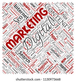 Vector concept or conceptual digital marketing seo traffic square red word cloud isolated background. Collage of business, market content, search, web push placement or communication technology