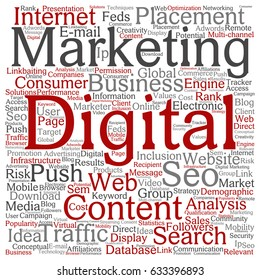 Vector concept or conceptual digital marketing seo traffic square word cloud isolated on background. Collage of business, market, content, search, web push, placement or communication technology text