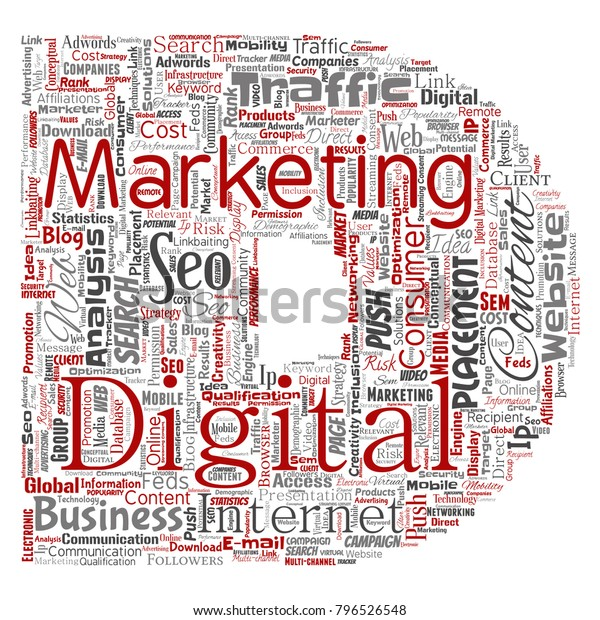 Vector Concept Conceptual Digital Marketing Seo Stock Vector