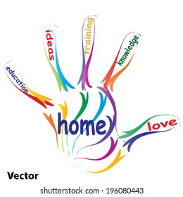 Vector concept or conceptual education hand print word cloud, white background, metaphor to child, family, school, life, learn, knowledge, home, study, teach, educational, achievement, childhood, teen