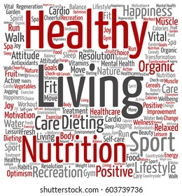 Vector concept or conceptual healthy living positive nutrition or sport square word cloud isolated on background  metaphor to happiness, care, organic, recreation workout, beauty, vital healthcare spa