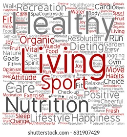 Vector concept or conceptual healthy living positive nutrition sport square word cloud isolated background. Collage of happiness, care, organic, recreation workout, beauty, vital healthcare spa text