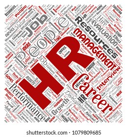 Vector concept conceptual hr or human resources career management square red word cloud isolated background. Collage of workplace, development, hiring success, competence goal, corporate or job