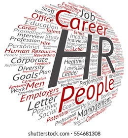Vector concept conceptual hr or human resources management abstract word cloud isolated on background metaphor to workplace, development, career, success, hiring, competence, goal, corporate or job