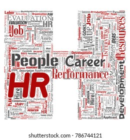 Vector concept conceptual hr or human resources career management letter font H word cloud isolated background. Collage of workplace, development, hiring success, competence goal, corporate or job