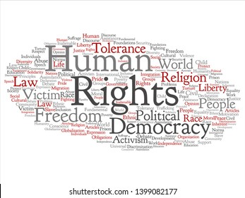 Vector concept or conceptual human rights political freedom, democracy abstract word cloud isolated background. Collage of humanity world tolerance, law principles, people justice discrimination text