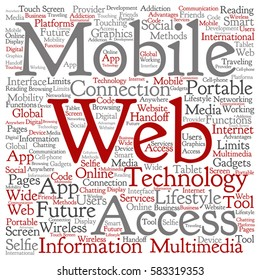 Vector concept or conceptual mobile web portable multimedia technology square word cloud isolated on background metaphor to access, future app, lifestyle communication, social tool, online services