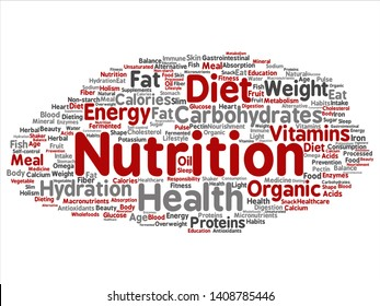 Vector concept or conceptual nutrition health diet abstract word cloud isolated background. Collage of carbohydrates, vitamins, fat, weight, energy, antioxidants beauty medicine, mineral, protein text