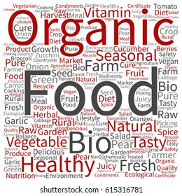 Vector concept or conceptual organic food healthy bio vegetables square word cloud isolated on background