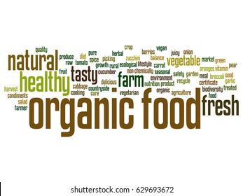 Vector concept or conceptual organic food healthy bio vegetables abstract word cloud isolated on background