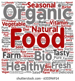Vector concept conceptual organic food healthy bio vegetables square word cloud isolated background. Collage of natural, fresh tasty farm agriculture, certificate ecological garden quality crop text