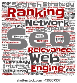 Vector concept or conceptual search engine optimization, seo square word cloud isolated on background, metaphor to marketing, web, internet, strategy, online, rank, result,  network, top, relevance
