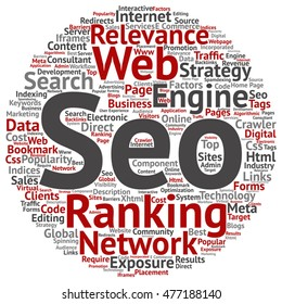 Vector concept conceptual search engine optimization, seo abstract round word cloud isolated on background metaphor to marketing, web, internet, strategy, online, rank, result, network, top, relevance