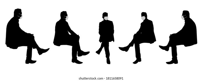 Vector concept conceptual  silhouette men talking while social distancing as means of prevention and protection against coronavirus contamination. A metaphor for the new normal.