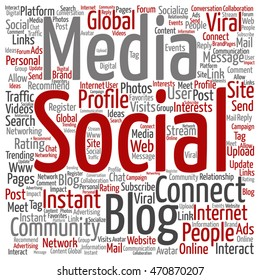 Vector concept conceptual social media marketing communication abstract square word cloud isolated on background metaphor to networking, community, technology, advertising, global, worldwide tagcloud