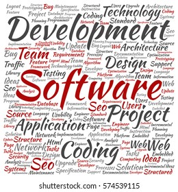 Vector concept or conceptual software development project coding technology square word cloud isolated on background metaphor to application web design, seo ideas, implementation, testing or upgrade