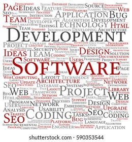 Vector concept or conceptual software development project coding technology square word cloud isolated on background metaphor to application, web design, seo, ideas, implementation, testing or upgrade